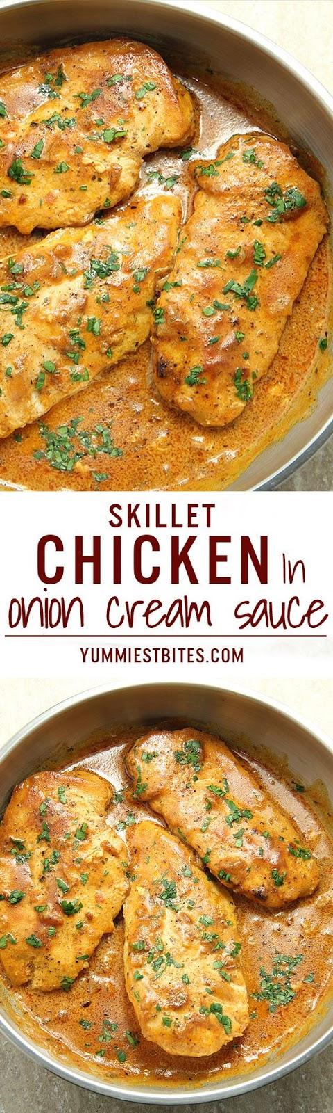 Skillet Chicken in onion cream sauce