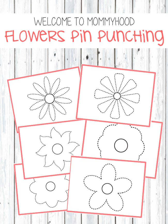 Montessori inspired activities: flowers pin punching printables by Welcome to Mommyhood #valentinesday #montessoriactivities #montessori #preschoolactivities #preschool