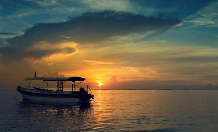 In Bali Beach and beatiful sunset