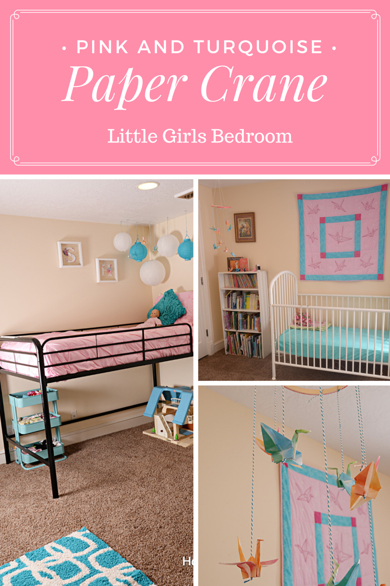 Pink and Turquoise Paper Crane Little Girls Bedroom - Housewife Eclectic