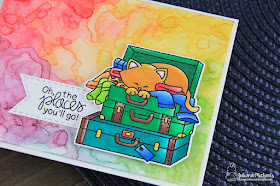 Oh The Places You'll Go Card by Juliana Michaels featuring Stowaway Newton Stamp Set by Newton's Nook Designs