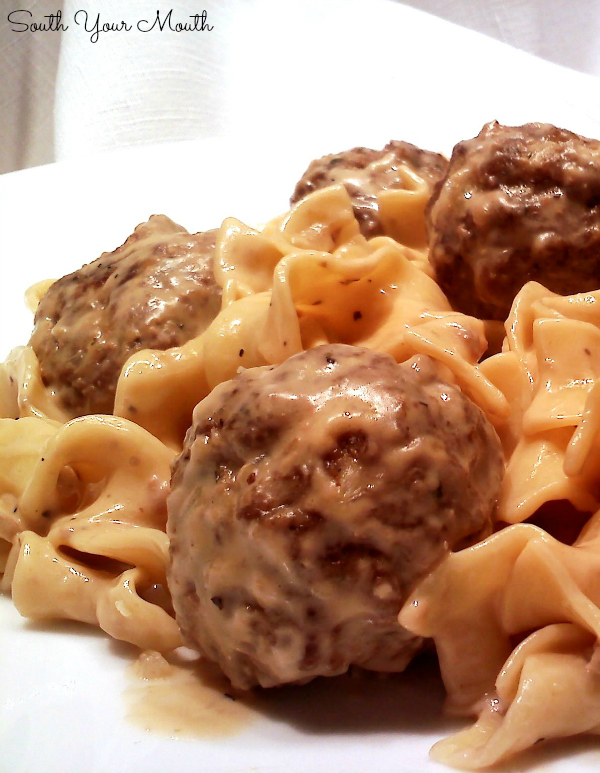 Swedish Meatballs! A quick and easy version of Swedish Meatballs using homemade meatballs, sour cream, cream of mushroom soup and brown gravy mix. Includes alternative for making Hamburger Stroganoff!