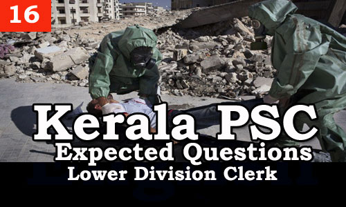 Kerala PSC - Expected/Model Questions for LD Clerk - 16