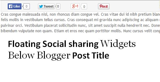 Floating social sharing buttons below blogger post title