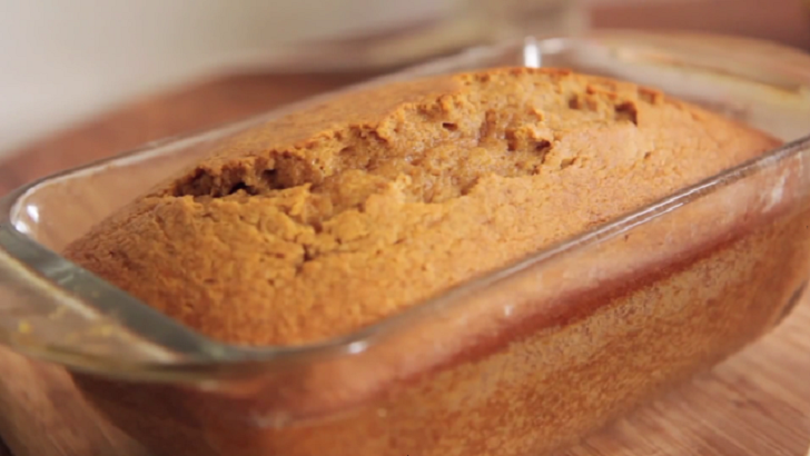 Pumpkin (Puree) Bread in a baking tray