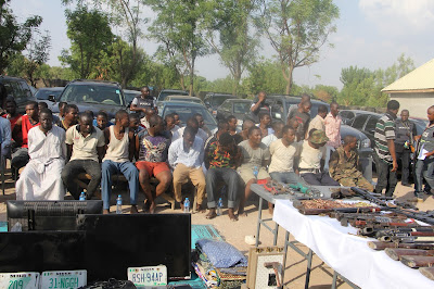 Parade of 48 suspected gangs of kidnappers/armed robbers alongside other criminals by CSP Jimoh Moshood