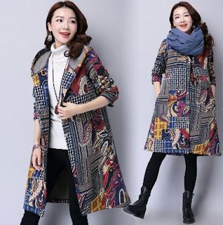 Model terbaru cardigan batik ala korea cantik unik