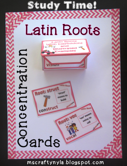 Latin Roots - Words and Pictures - Dictionary Cards