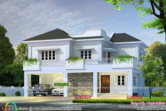 2300 square feet, 4 bedroom villa plan