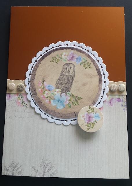Owl in flower frame on blank C5 card