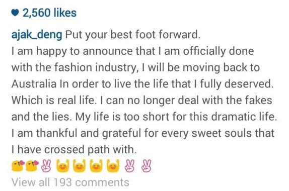 model Ajak Deng retires