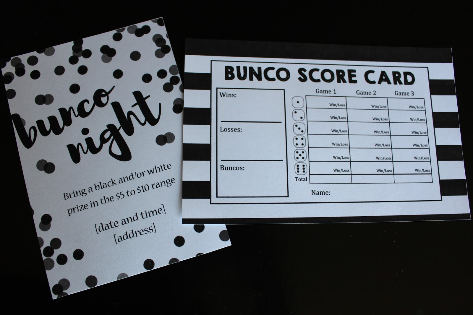 Utah County Mom Black and White Bunco theme with FREE printables
