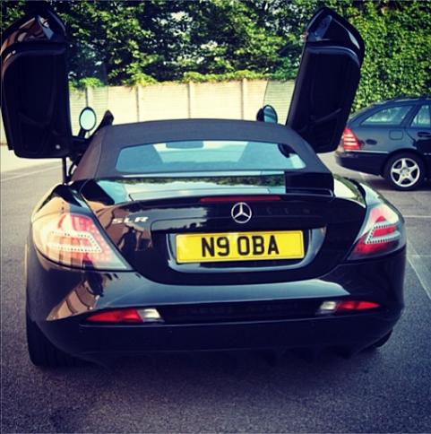 Obafemi Martins shows off his Mercedes Benz convertible super car