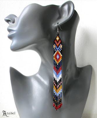 Очень длинные этно-серьги из бисера (авторский дизайн)