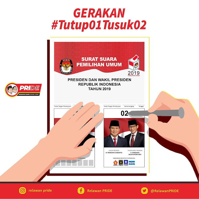 Netizen Pendukung Prabowo-Sandi Ramaikan Tagar #Tutup01Tusuk02