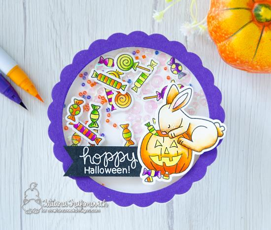 Bunny Halloween Shaker Card by Tatiana Trafimovich | Hoppy Halloween Stamp Set by Newton's Nook Designs #newtonsnook #handmade #halloween