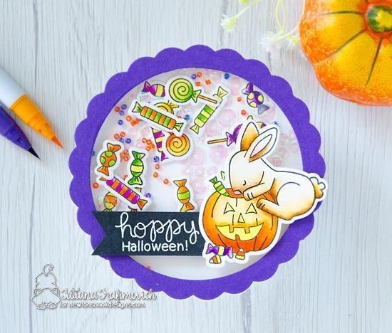 Bunny Halloween Shaker Card by Tatiana Trafimovich | Hoppy Halloween Stamp Set by Newton's Nook Designs #newtonsnook #handmade #halloween