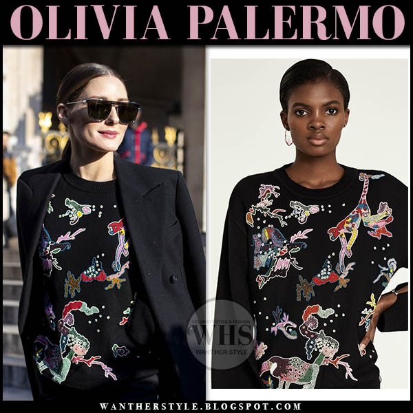 Olivia Palermo in black embroidered embroidered sweater and black coat fashion week style january 21