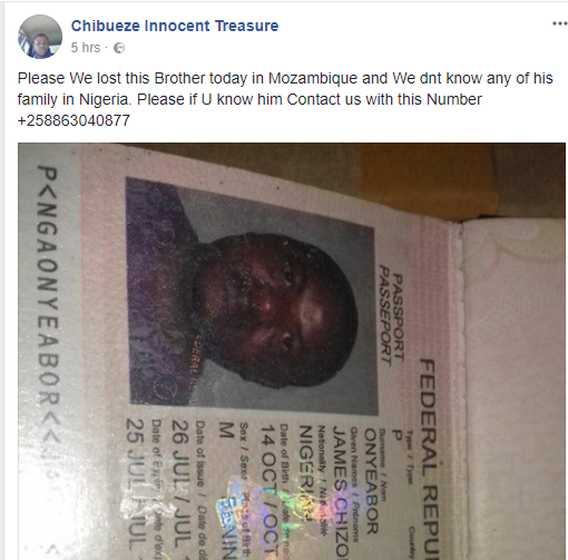 Photo: Who knows this middle-aged Nigerian man who died in Mozambique today