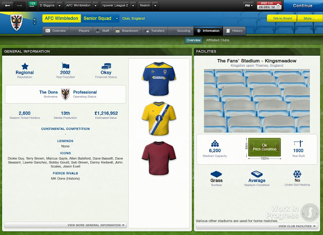 Club Overview Screen In Football Manager 2013