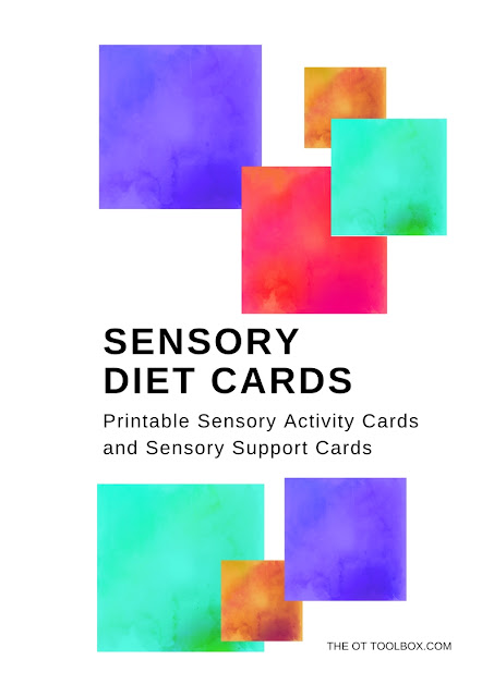 Use printable sensory diet cards to encouraging sensory input through play