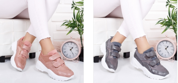 Pantofi sport de femei cu talpa inalta si scai gri, roz