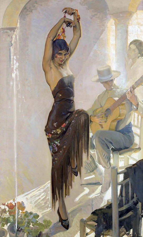 Baile Flamenco, Francisco Pons Arnau, Pintor español, Pintor Valenciano, Pintura Valenciana, Impresionismo Valenciano, Pintor Pons Arnau, Retratos de Pons Arnau