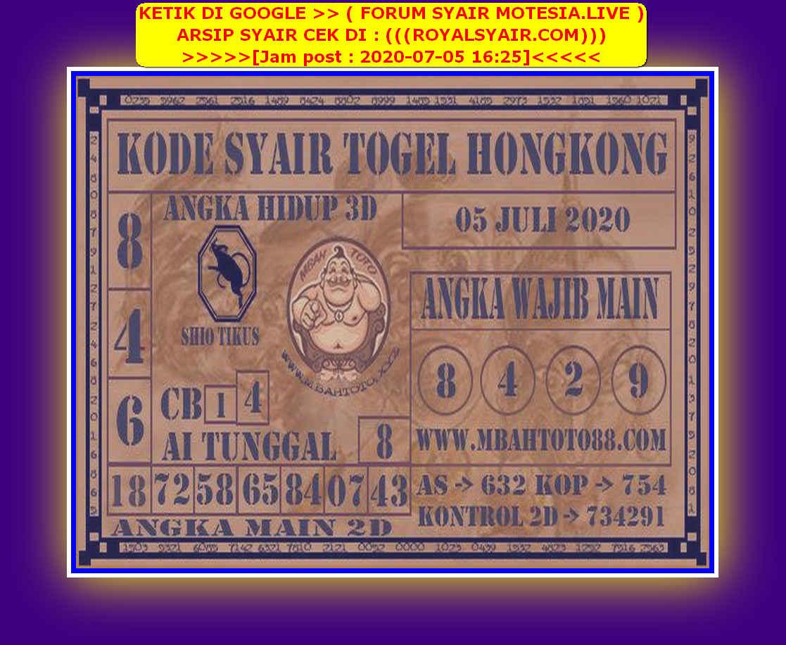 Kode syair Hongkong Minggu 5 Juli 2020 149