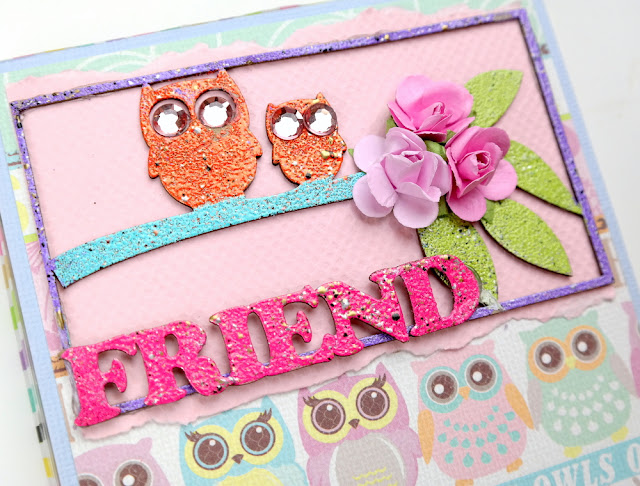 Multi-Color Embossing on an Owl Friend Chipboard Giftbox Lid by Dana Tatar