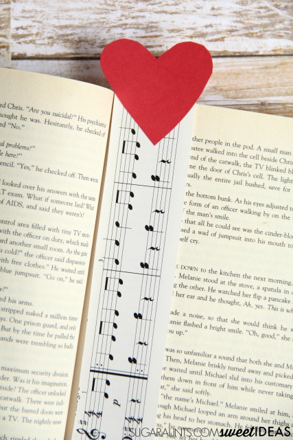 Music note bookmark craft