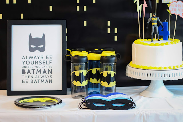 Batman Party table with batman printable and batman water bottles