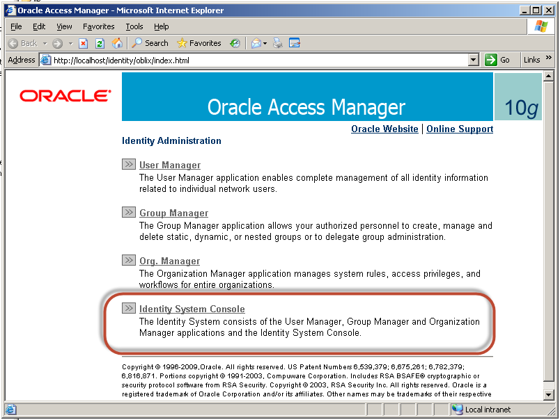 IAM IDM: OIM & OAM 10g installation Part 4: Identity System Console