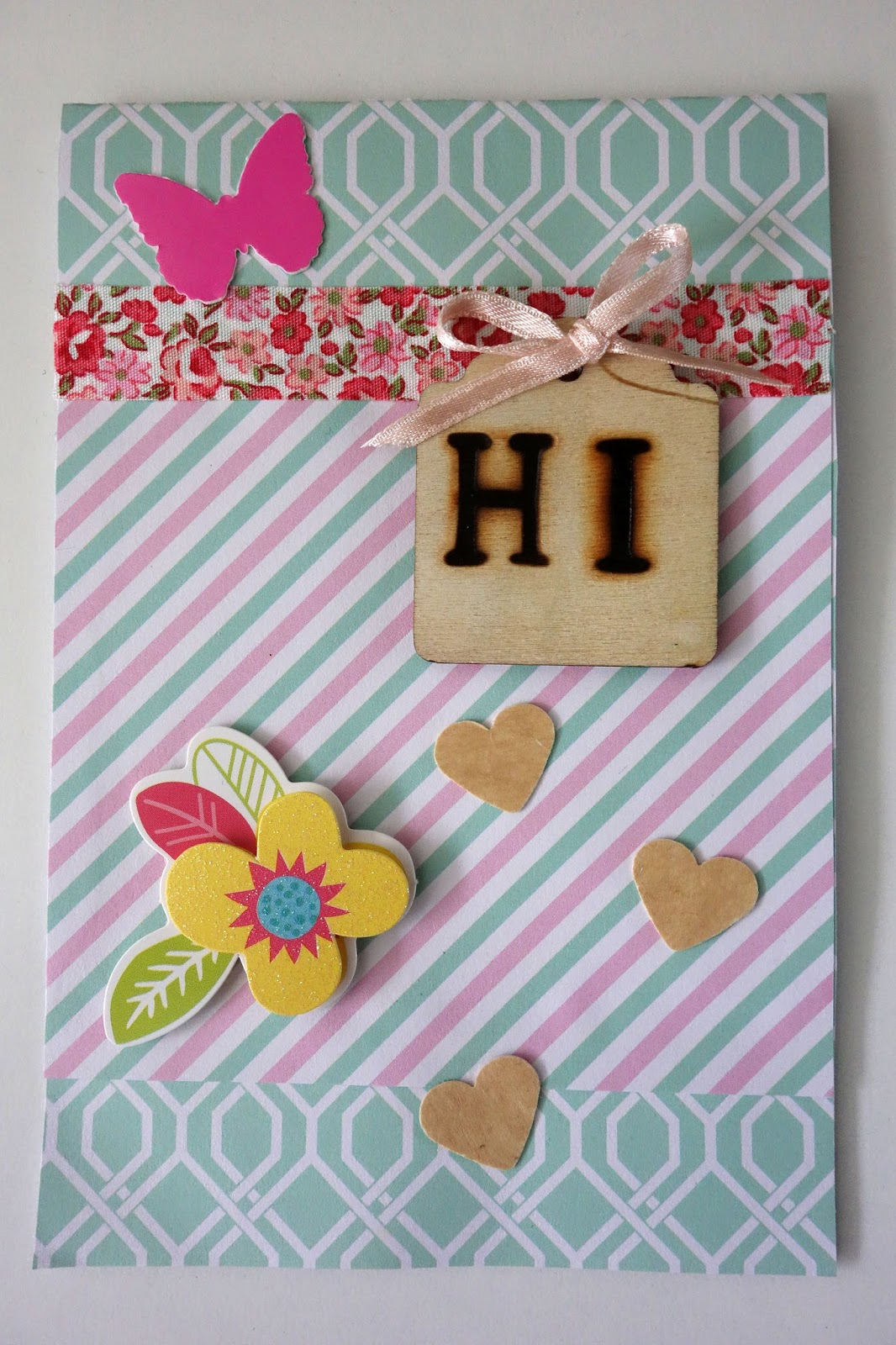Blah to tada handmade greeting cards i call this the hi card the hi is made with wood burning tools and a beechwood tag the card is an assemblage of scrapbook paper stickers m4hsunfo