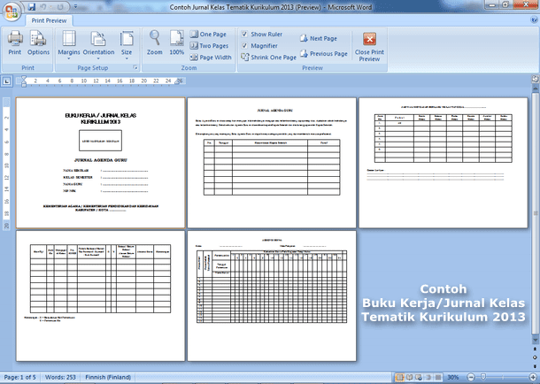 File Pendidikan Contoh Buku Kerja Jurnal Kelas Tematik Kurikulum 2013