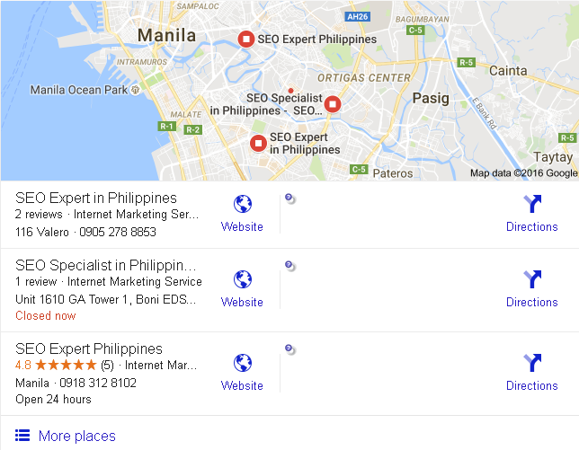 Google Local Business Search Listings