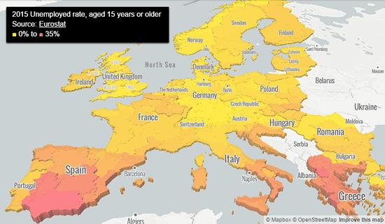 Mapa del Paro en Europa