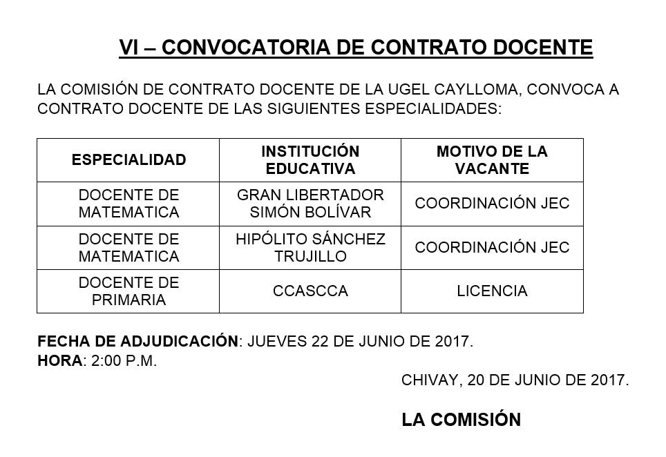 Ugel caylloma convocatoria de contrato docente primaria for Convocatoria de plazas docentes 2017