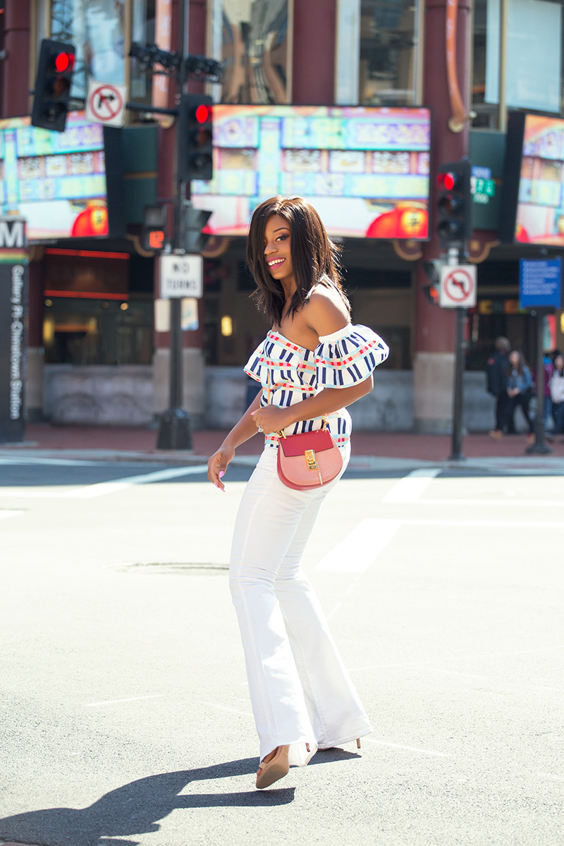 white flare jeans, dc style, off the shoulder top, rename tops, chloe bag, jadore-fashion.com