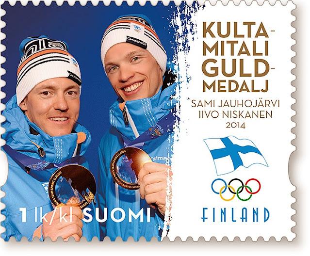 Suomi Sotshi kultamitali hiihtäjät postimerkki