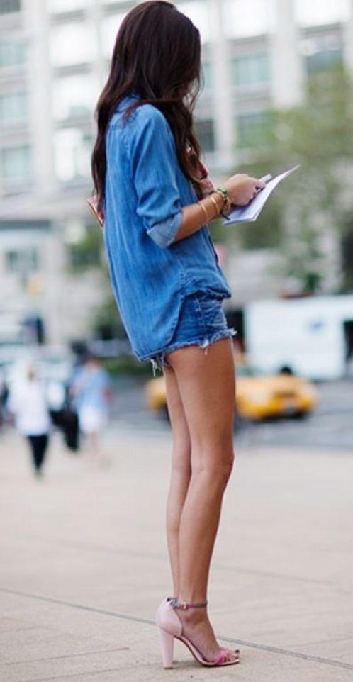 double denim outfit idea / shirt + shorts + heels