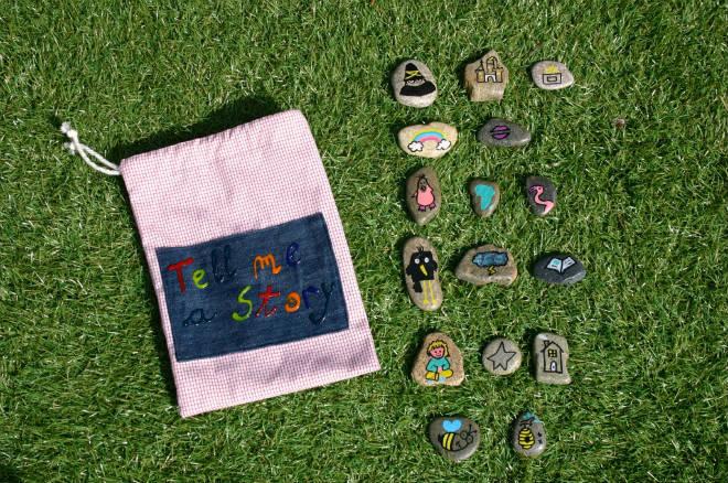 Actividad infantil creativa: piedras pintadas para inventar historias