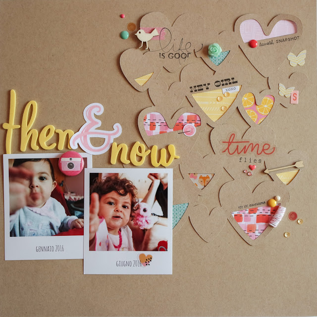 scrapbooking layout | then & now by kushi www.kkushi.com