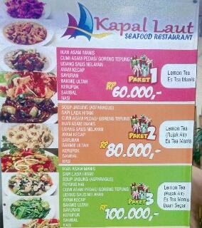 Seafod menu kuliner kapal laut