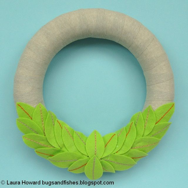 spring wreath with felt leaves added