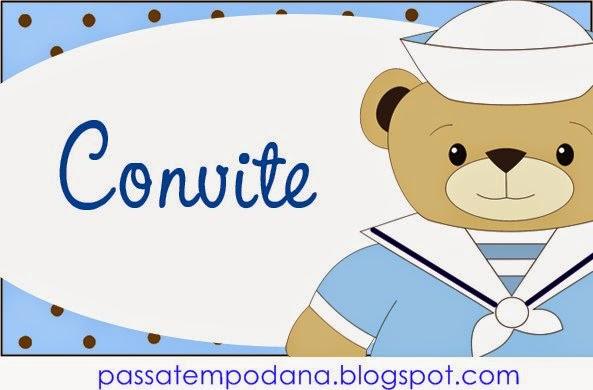 Etiquetas de Lindo Osito Marinero para imprimir gratis.