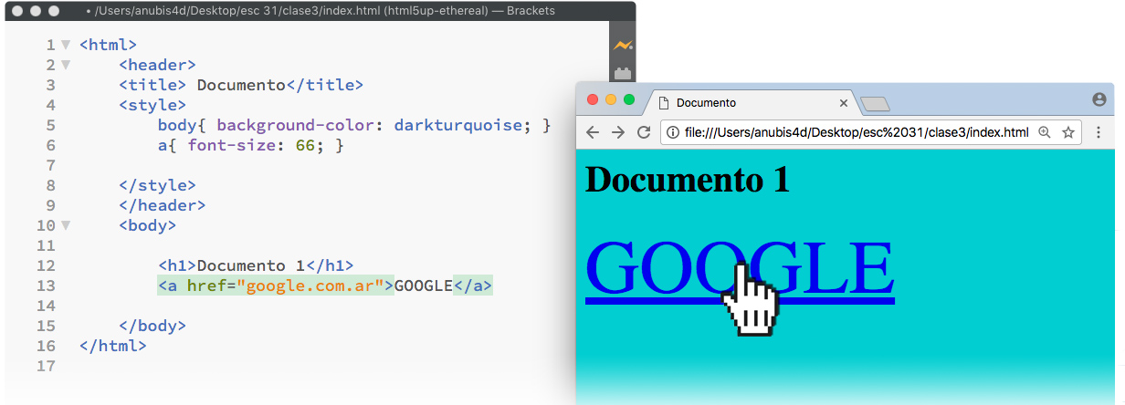 Ejemplo de enlace de ruta absoluta en HTML.