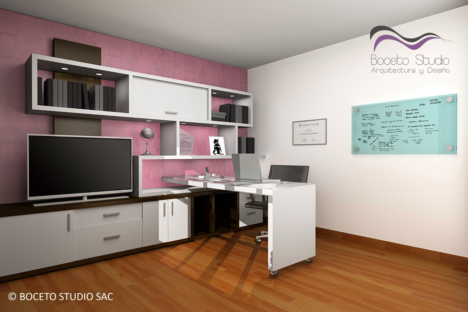 Boceto studio arquitectura y dise o cuarto de estudio y for Disenos de espejos para habitacion