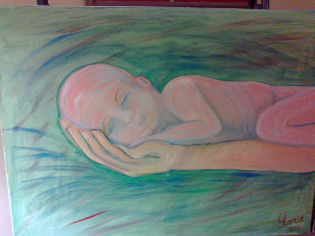"Oil painting om canvas entitled ""Baby"" ; painted by Gloria Poole"