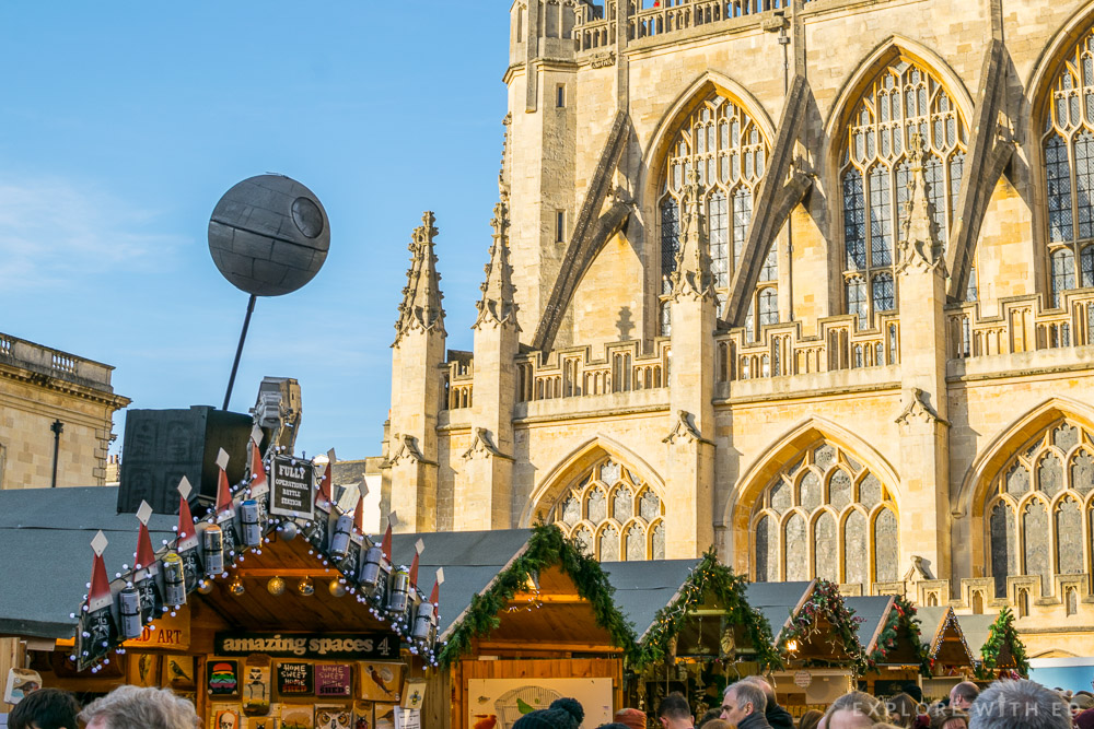 Bath Abbey Square with Christmas Market stalls