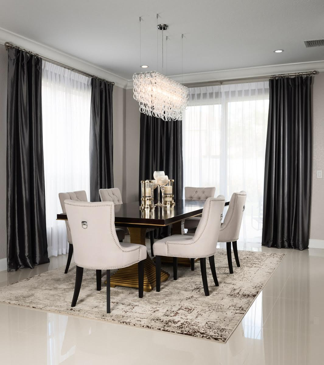 We Of Course Extended The Glam To Dining Room With A Table That Seats Up 8 And Showstopper Chandelier Took Me Forever Help Install